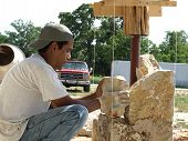 A Rock Layer In White T Shirt