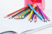 School Pencils On White Background.color Pencils On White Background. Color Pencils For Drawing. Set poster