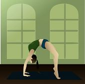 foto of dhanurasana  - Young girl practicing yoga in the room - JPG