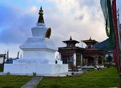 Buddhist Stupa In Gedu, Bhutan. A Sacred Place For Buddhists. Place Of Prayer, Calm And Meditation. poster