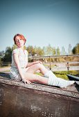 Ginger Girl. Portrait Of Young Tender Redhead Young Girl With Healthy Freckled Skin Wearing White To poster
