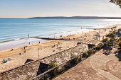 Bournemouth Beach And Sands On Sunny Spring Day. United Kingdom, Landscape. poster