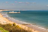 Bournemouth Pier And Sands On Sunny Spring Day. United Kingdom, Landscape. poster