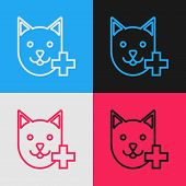 Color Line Veterinary Clinic Symbol Icon Isolated On Color Background. Cross With Cat Veterinary Car poster