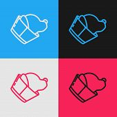 Color Line Veterinary Clinic Symbol Icon Isolated On Color Background. Dog Veterinary Care. Pet Firs poster
