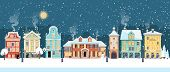 Snowy Christmas Night In Cozy Town City Panorama. Winter Village Holiday Landscape, Vector Illustrat poster