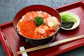 rice bowl topped with salmon & salmon roe, japanese food poster