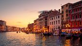 Venice In Summer Dusk, Italy. Panorama Of Famous Grand Canal, Famous Street Of Venice. Beautiful Cit poster