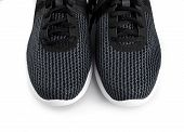 Sport Shoes Isolated On White Background. Black Sneakers Running Shoes. Casual Shoes. Youth Style. S poster