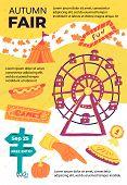 Bright Banner Inscription Autumn Fair, Cartoon. Bright Colorful Flyer Invitation To Autumn Fair. Boo poster