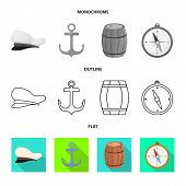Isolated Object Of Journey And Seafaring Symbol. Collection Of Journey And Vintage Vector Icon For S poster