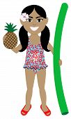 stock photo of floaties  - Vector of Hawaiian girl in swimsuit with Pineapple and Noodle Floatie - JPG