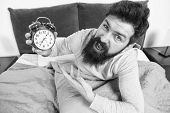 Tips For Waking Up Early. Man Bearded Hipster Sleepy Face Waking Up. Daily Schedule For Healthy Life poster