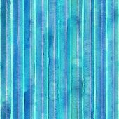 Watercolor Teal Blue Navy Stripes Background. Colorful Striped Seamless Pattern. Watercolour Hand Dr poster