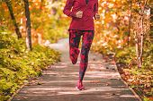 Run path woman running in forest park nature outdoors fitness workout on boardwalk in autumn fall fo poster