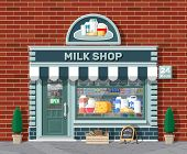 Dairy Store Or Milk Shop With Signboard, Awning. Store Facade With Storefront. Farmer Shop, Showcase poster