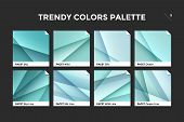 Glass Facet Gradient Template. Collection Palette Of Clear Blue And Green Glass Gradient Illustratio poster