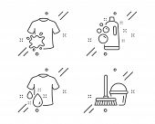 Clean Bubbles, Dirty T-shirt And Wash T-shirt Line Icons Set. Bucket With Mop Sign. Laundry Shampoo, poster