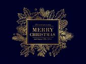 Christmas Card. Merry Christmas Frame. Festive Vector Background With Gold Sketch Fir Tree Branches, poster