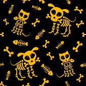 Halloween Seamless Pattern. Funny Skeleton, Skull And Bones. Vector Pattern With Dog Skeleton And Ca poster