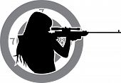 stock photo of guns  - girl aims from a rifle with target background stencil - JPG