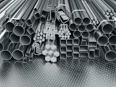 Stainless steel profiles and tubes. in warehouse background. Different metal rolled products. 3d ill poster