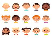 Kids Faces. Child Expression Faces Little Boys And Girls Cartoon Avatars Vector Collection. Girl And poster