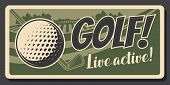 Golf Club, Professional Game And Sport Hobby Training Vintage Retro Poster. Vector Premium Golf Club poster