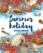 Vector Sea Travel Vacation, Sea Shells And Corals On Beach Sand, Seaside Holiday Resort Or Spa. Beac poster