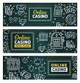 Casino Online Poker Gambling Game Banners. Vector Royal Casino Signage, Slot Machines, Poker Gamble  poster