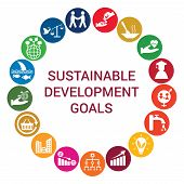 Sustainable Development Goals Round Concept With White Flat Icons In Colorful Circles. Isolated Vect poster