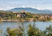 View Of Rocca Borromea At Angera, On The Lakeside Maggiore Hilltop In Province Of Varese, Italy poster