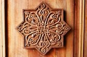 stock photo of apostolic  - Wooden door of Noravank monastery in Armenia - JPG