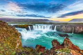 Fantastic Sunset Scene Of Powerful Godafoss Waterfall. Dramatic Sky Over Godafoss. Location: Bardard poster