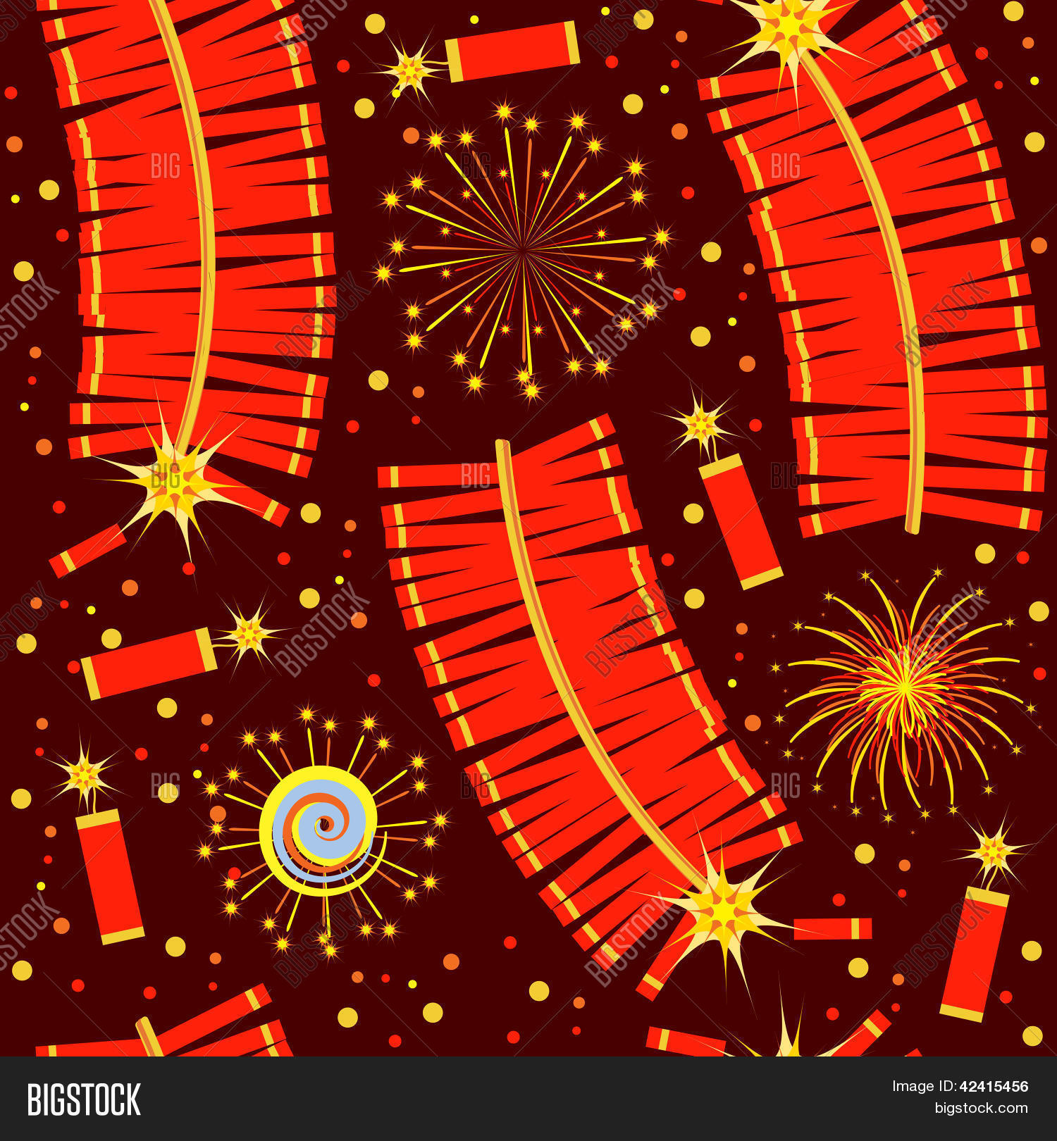 Chinese Fireworks Seamless Pattern Vector & Photo | Bigstock