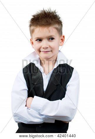 Cool Little Boy In A Waistcoat