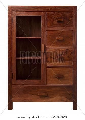 Walnut Cabinet With Glass Doors