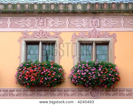 Flowered Windows Odfobernai Townhall - Alsace