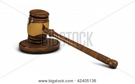 Wooden Gavel. Legal Set On White