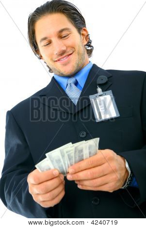 Young Businessman Counting His Money