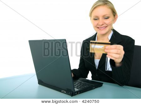 Young Female Businesswoman Doing Online Shopping