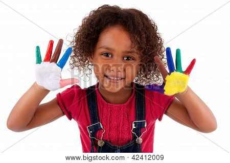 Little African Asian Girl With Hands Painted