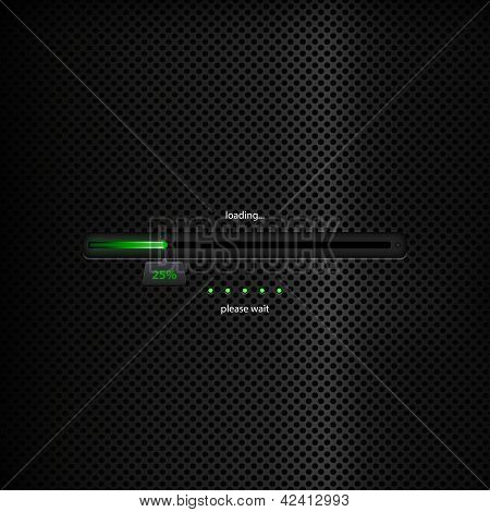 Progress Bar - Green Trendy Design On Dark Background