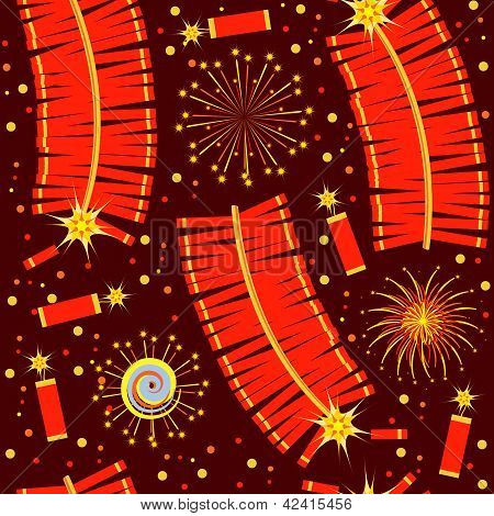 Chinese Fireworks Seamless Pattern.vector Illustration For Background