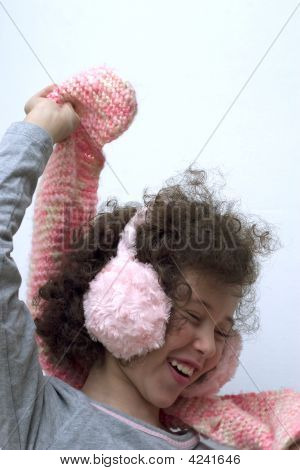 Girl With Pink Earmuff And Pink Scarf