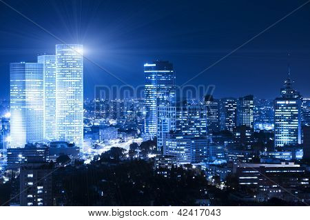 Tel Aviv Skyline at night - Building Lights