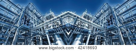 giant oil and gas refiney, iluminated blue toning concept