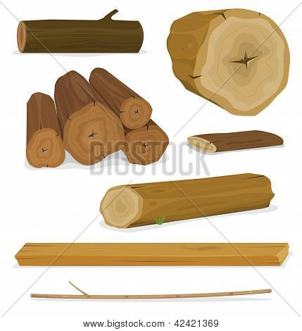 Registros de madera, troncos y tablones Set