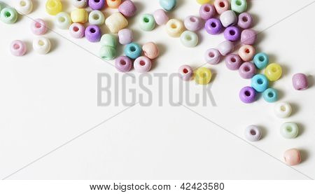 Pastel Beads On White Background