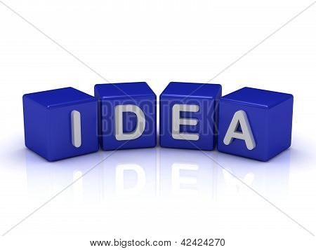 Idea Word On Blue Cubes